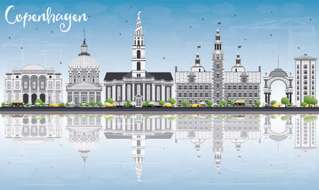 코펜하겐 회색 랜드 마크, 푸른 하늘 및 반사와 스카이 라인. 벡터 일러스트 레이 션. 비즈니스 여행 및 역사적인 건물 관광 개념입니다. 프레젠테이션  일러스트