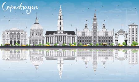 Skyline Kopenhagen met Gray Landmarks, Blauwe Hemel en Reflections. Vector Illustratie. Business Travel en Toerisme Concept met historische gebouwen. Afbeelding voor Presentatie Banner Placard en Website.