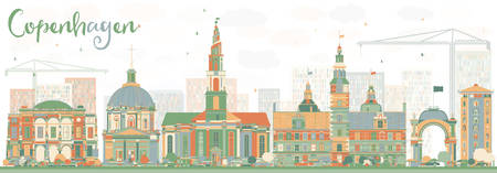 Abstract Copenhagen Skyline with Color Landmarks. Vector Illustration. Business Travel and Tourism Concept with Historic Buildings. Image for Presentation Banner Placard and Web Site.