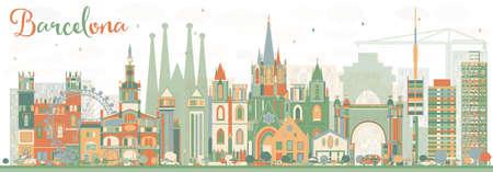 Estratto Barcellona Skyline con costruzioni di colore. Illustrazione vettoriale. Viaggi d'affari e turismo Concetto di edifici storici. Immagine per la presentazione della bandiera Manifesto e sito Web. Vettoriali