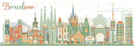 Abstract Barcelona Skyline with Color Buildings. Vector Illustration. Business Travel and Tourism Concept with Historic Buildings. Image for Presentation Banner Placard and Web Site. Illustration