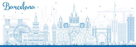 Outline Barcellona Skyline con blu edifici. Illustrazione vettoriale. Viaggi d'affari e turismo Concetto di edifici storici. Immagine per la presentazione della bandiera Manifesto e sito Web.