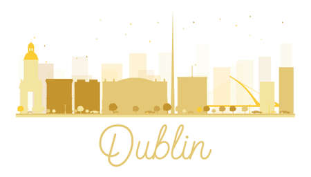 castles needle: Dublin City skyline golden silhouette. Vector illustration. Simple flat concept for tourism presentation, banner, placard or web site. Business travel concept. Dublin isolated on white background Illustration