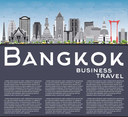 Bangkok Skyline with Gray Landmarks, Blue Sky and Copy Space. Vector Illustration. Business Travel and Tourism Concept with Bangkok City. Image for Presentation Banner Placard and Web Site.