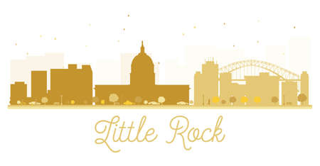 little rock: Little Rock City skyline golden silhouette. Vector illustration. Simple flat concept for tourism presentation, banner, placard or web site. Business travel concept. Little Rock isolated on white background Illustration