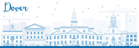 dover: Outline Dover Skyline with Blue Buildings. Vector Illustration. Business Travel and Tourism Concept with Historic Buildings. Image for Presentation Banner Placard and Web Site. Illustration