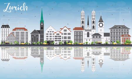 silhouette maison: Zurich Skyline avec gris Bâtiments, Blue Sky et réflexions. Vector Illustration. Voyage d'affaires et du tourisme Concept avec Zurich Bâtiments historiques. Photo pour Présentation Bannière Pancarte et Web.