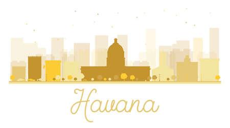havana: Havana City skyline golden silhouette. Vector illustration. Simple flat concept for tourism presentation, banner, placard or web site. Business travel concept. Havana isolated on white background