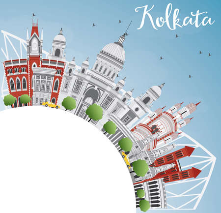 calcutta: Kolkata Skyline with Gray Landmarks and Copy Space. Vector Illustration. Business Travel and Tourism Concept with Historic Buildings. Image for Presentation Banner Placard and Web Site. Illustration