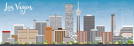Las Vegas Skyline with Gray Buildings and Blue Sky. Vector Illustration. Business Travel and Tourism Concept with Modern Buildings. Image for Presentation Banner Placard and Web Site.  イラスト・ベクター素材