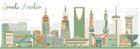 Abstrakt Saudi-Arabien Skyline mit Farbe Sehenswürdigkeiten. Vektor-Illustration. Business Travel und Tourismus-Konzept. Bild für Präsentation Banner Transparent und Web-Site.