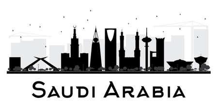 Arabia Saudita Horizonte de la ciudad negro y blanco de la silueta. Ilustración del vector. concepto de plano simple para la presentación turismo, bandera, cartel o página web. el concepto de viaje de negocios. Paisaje urbano con puntos de referencia Ilustración de vector