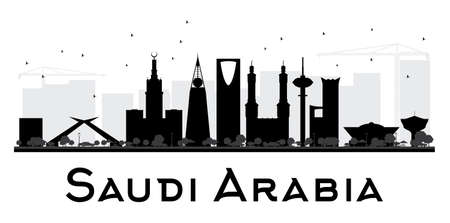 Saudi Arabia City skyline black and white silhouette. Vector illustration. Simple flat concept for tourism presentation, banner, placard or web site. Business travel concept. Cityscape with landmarks Ilustração