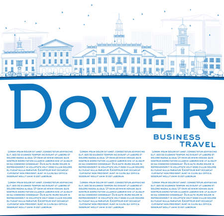 dover: Outline Dover Skyline with Blue Buildings and Copy Space. Vector Illustration. Business Travel and Tourism Concept with Historic Buildings. Image for Presentation Banner Placard and Web Site. Illustration