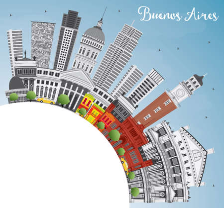 buenos aires: Buenos Aires Skyline with Color Landmarks, Blue Sky and Copy Space. Vector Illustration. Illustration