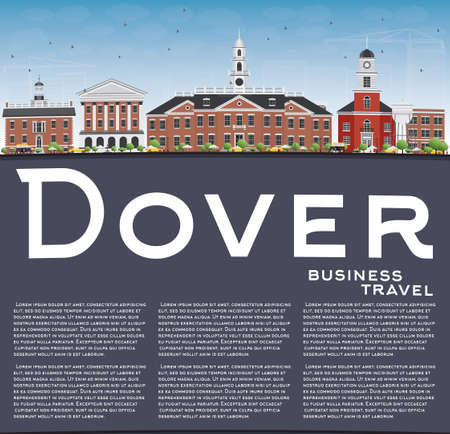 dover: Dover Skyline with Color Buildings, Blue Sky and Copy Space. Vector Illustration. Business Travel and Tourism Concept with Historic Buildings. Image for Presentation Banner Placard and Web Site.