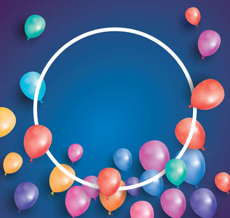 copy space: Happy birthday card with flying balloons and white frame. Vector illustration. Template for different holidays with copy space.