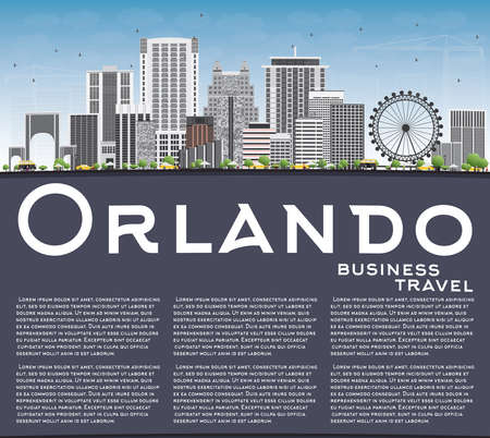 orlando: Orlando Skyline with Gray Buildings, Blue Sky and Copy Space. Vector Illustration. Business Travel and Tourism Concept with Orlando City. Image for Presentation Banner Placard and Web Site. Illustration