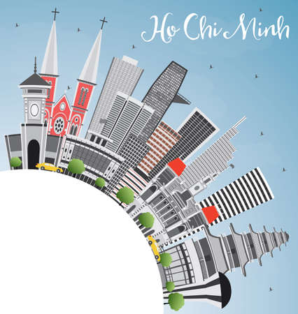 ho: Ho Chi Minh Skyline with Gray Buildings and Copy Space. Vector Illustration. Business Travel and Tourism Concept with Modern Buildings. Image for Presentation Banner Placard and Web Site.
