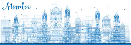 Outline Mumbai Skyline with Blue Landmarks. Vector Illustration. Business Travel and Tourism Concept with Historic Buildings. Image for Presentation Banner Placard and Web Site.