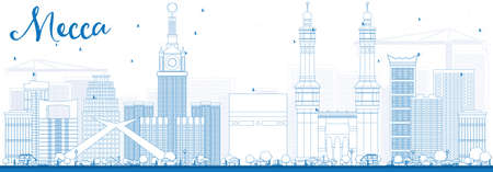 Esquema Meca Skyline con azul de Señales. Ilustración del vector. Viajar concepto de turismo y de edificios históricos. Presentación de imágenes del banner de cartel y del sitio Web. Ilustración de vector