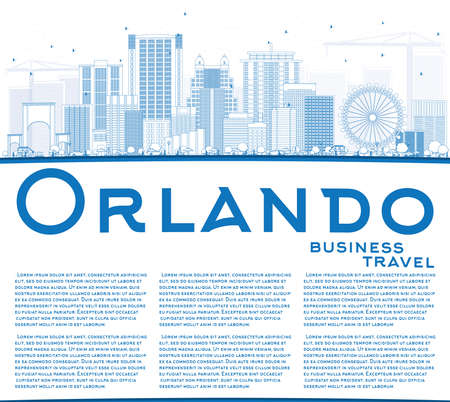 orlando: Outline Orlando Skyline with Blue Buildings and Copy Space. Vector Illustration. Business Travel and Tourism Concept with Orlando City. Image for Presentation Banner Placard and Web Site.