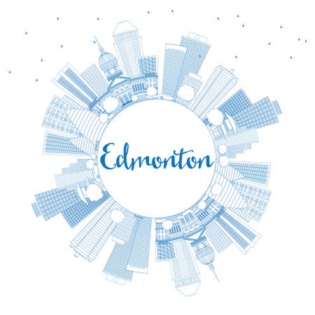 edmonton: Outline Edmonton Skyline with Blue Buildings and Copy Space. Vector Illustration. Business Travel and Tourism Concept with Modern Buildings. Image for Presentation Banner Placard and Web Site.