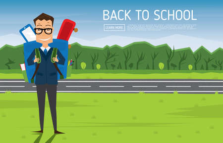 pocket pc: Smiling Young School Boy in Uniform with Blue Backpack. Vector Illustration. Man on green grass near road and tree. Back to School Concept.