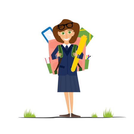 pocket pc: Smiling Young School Girl in Uniform with Pink Backpack. Vector Illustration. Girl isolated on white background. Back to School Concept. Illustration