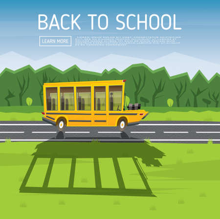 country road: Yellow School Bus Driving Along Country Road. Vector Illustration. Back to School Concept with Yellow Bus, Green Tree and Blue Sky. Illustration