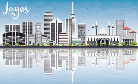 라고스 스카이 라인 회색 건물, 푸른 하늘 및 반사. 벡터 일러스트 레이 션. 현대적인 건물 비즈니스 여행 및 관광 개념입니다. 프레젠테이션 배너 플래