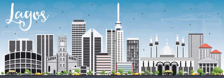 lagos: Lagos Skyline with Gray Buildings and Blue Sky. Vector Illustration. Business Travel and Tourism Concept with Modern Buildings. Image for Presentation Banner Placard and Web Site. Illustration