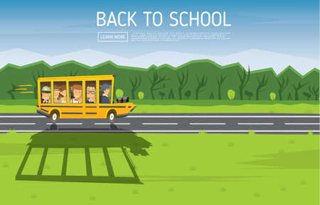 pupils: Back to School. Vector Illustration. Yellow Racing School Bus in Cartoon Style with Pupils and Copy Space. Illustration