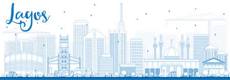 lagos: Outline Lagos Skyline with Blue Buildings. Vector Illustration. Business Travel and Tourism Concept with Modern Buildings. Image for Presentation Banner Placard and Web Site.