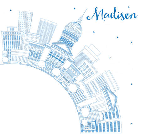 madison: Outline Madison Skyline with Blue Buildings and Copy Space. Vector Illustration. Business Travel and Tourism Concept with Modern Buildings. Image for Presentation Banner Placard and Web Site.