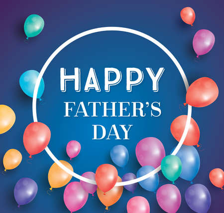copy space: Happy fathers day card with flying balloons and white frame. Vector illustration.  Happy Fathers Day poster with copy space. Illustration