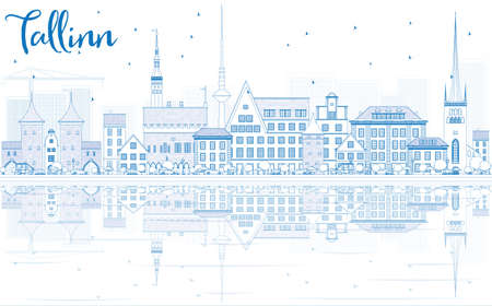 Outline Tallinn Skyline with Blue Buildings and Reflections. Vector Illustration. Business Travel and Tourism Concept with Historic Buildings. Image for Presentation Banner Placard and Web Site.