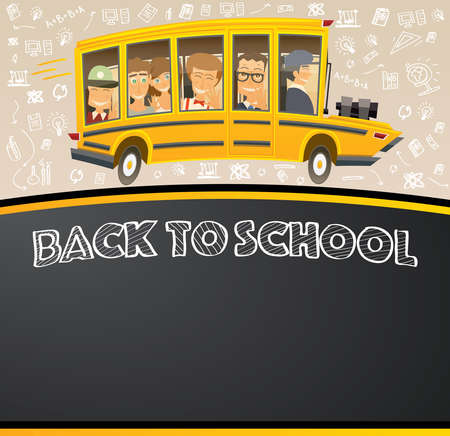 pupil's: Back to School on Black Chalk Board. Vector Illustration. Racing School Bus in Cartoon Style with Pupils and Copy Space. Illustration