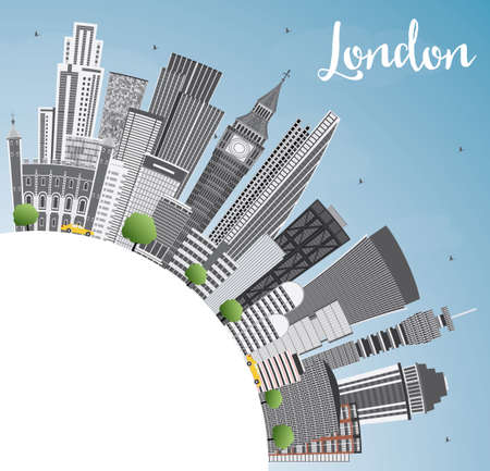 sky: London Skyline with Gray Buildings, Blue Sky and Copy Space. Business Travel and Tourism Concept with Modern Buildings. Image for Presentation Banner Placard and Web Site.