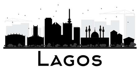 Lagos City skyline black and white silhouette. Vector illustration. Simple flat concept for tourism presentation, banner, placard or web site. Business travel concept. Cityscape with landmarks