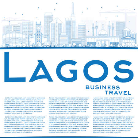 lagos: Outline Lagos Skyline with Blue Buildings and Copy Space. Vector Illustration. Business Travel and Tourism Concept with Modern Buildings. Image for Presentation Banner Placard and Web Site.