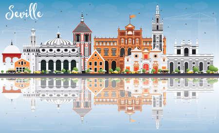 Sevilla Silueta de edificios con color, cielo azul y la reflexión. Ilustración del vector. Los viajes de negocios concepto de turismo y de edificios históricos. Presentación de imágenes del banner de cartel y del sitio Web. Ilustración de vector