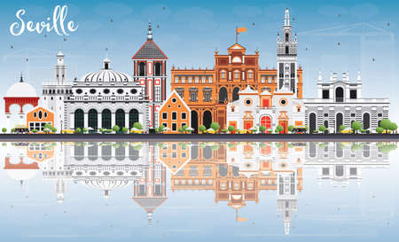 Seville Skyline with Color Buildings, Blue Sky and Reflection. Vector Illustration. Business Travel and Tourism Concept with Historic Buildings. Image for Presentation Banner Placard and Web Site. Vettoriali