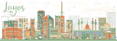 Lagos: Abstract Lagos Skyline with Color Buildings. Vector Illustration. Business Travel and Tourism Concept with Modern Buildings. Image for Presentation Banner Placard and Web Site.