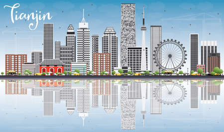 Tianjin Skyline with Gray Buildings, Blue Sky and Reflections. Vector Illustration. Business Travel and Tourism Concept with Modern Buildings. Image for Presentation Banner Placard and Web Site.