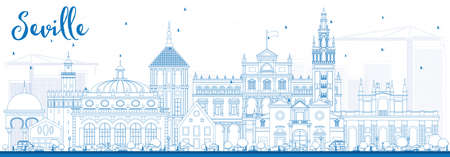 Outline Seville Skyline with Blue Buildings. Vector Illustration. Business Travel and Tourism Concept with Historic Buildings. Image for Presentation Banner Placard and Web Site.