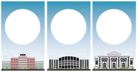 대학 연구 배너 복사본 공간 집합입니다. 벡터 일러스트 레이 션. 학생들은 회색 건물로 이동합니다. 푸른 하늘이 대학. 복사 공간 배너.