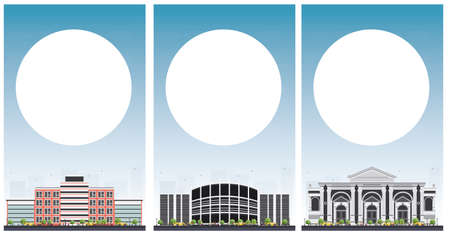Set van universitaire studie banners met kopie ruimte. Vector illustratie. Studenten gaan naar het grijze gebouw. Universiteit met blauwe hemel. Banner met kopie ruimte. Stock Illustratie