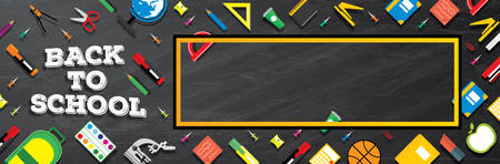 blackboard background: Back to school. School supplies on blackboard background. Vector illustration. Banner with Copy Space.
