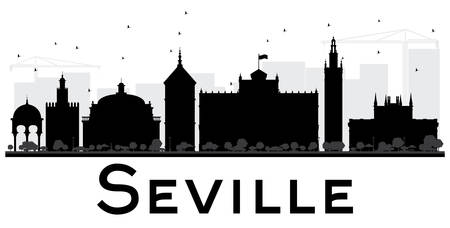 Seville City skyline black and white silhouette. Vector illustration. Simple flat concept for tourism presentation, banner, placard or web site. Business travel concept. Cityscape with landmarks